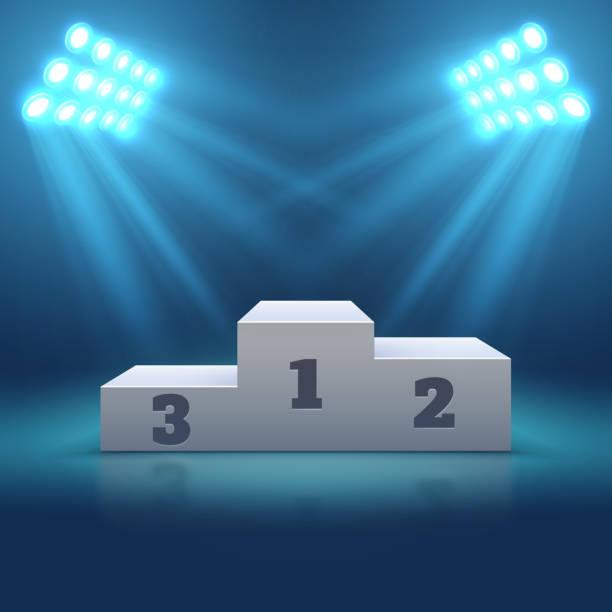 Sports winner empty podium illuminated by searchlights vector illustration vector art illustration