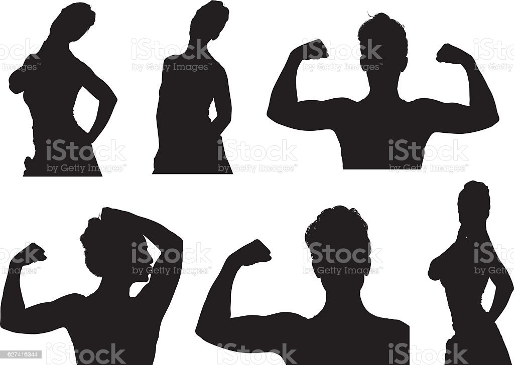 Sports woman flexing muscle vector art illustration