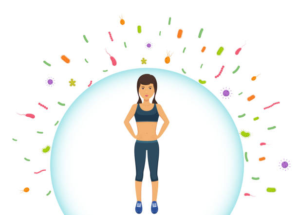 Sports woman reflects bacteria. Protecting immune system from bad bacteria. Barrier against viruses. Sports woman reflects bacteria. Protecting immune system from bad bacteria. Barrier against viruses. bacillus subtilis stock illustrations