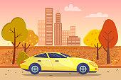 istock Sportscar Passing City Center in Autumn Vector 1307214066