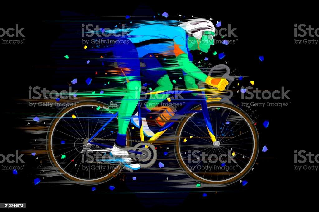 Sportsman doing Cycling vector art illustration