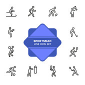 Sportsman line icon set