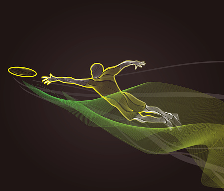 Sportsman throwing frisbee. Colorful illustration