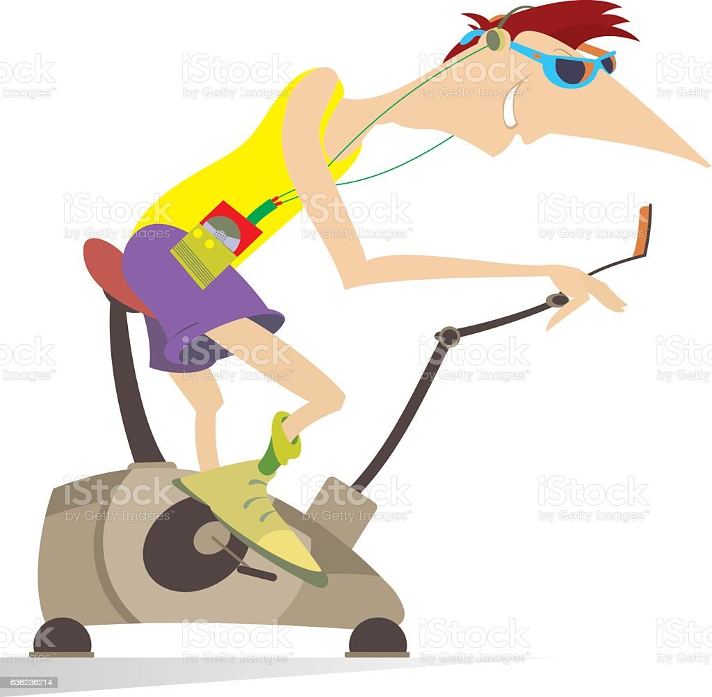 Sportsman trains on exercise bike vector art illustration