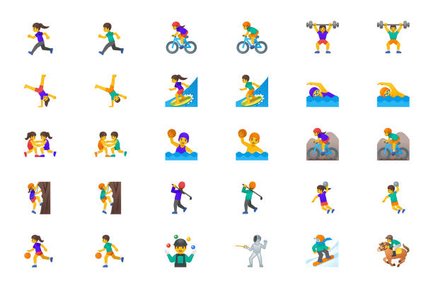 Sportsman Vector Icons Set. Sport People Man, Woman Persons Icons Illustration Symbols Emojis, Characters Set, Collection Cartoon Style - Vector Sportsman Vector Icons Set. Sport People Man, Woman Persons Icons Illustration Symbols Emojis, Characters Set, Collection Cartoon Style - Vector south caucasus stock illustrations
