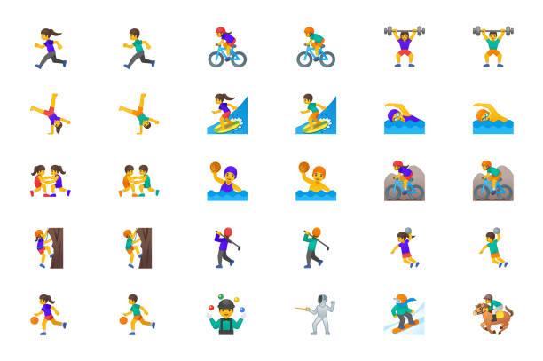 sportler vektor icons set. sport menschen mann, frau personen symbole illustration symbole emojis, charaktere set, sammlung cartoon-stil - vektor - emoticon stock-grafiken, -clipart, -cartoons und -symbole