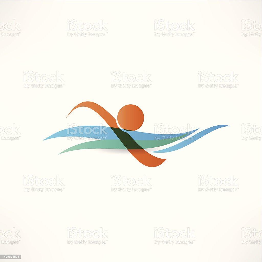 sportsmen swimming icon vector art illustration