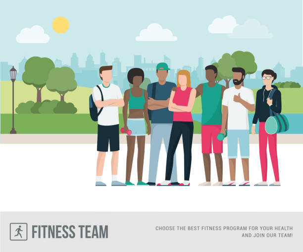 Sportspeople posing together Young sports people posing together at the park, they are jogging outdoors and doing physical exercise, fitness concept urban gardening stock illustrations