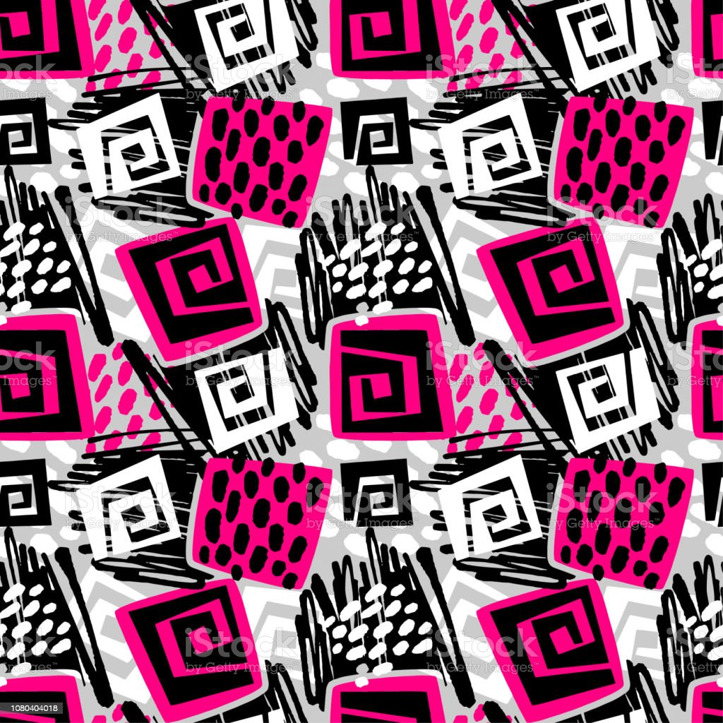 Sportswear print, youth seamless pattern, bright dynamic geometric motif vector art illustration