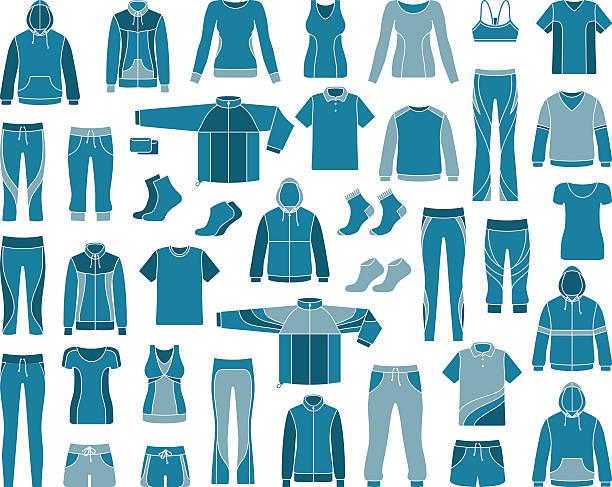 stockillustraties, clipart, cartoons en iconen met sportswear - sportkleding