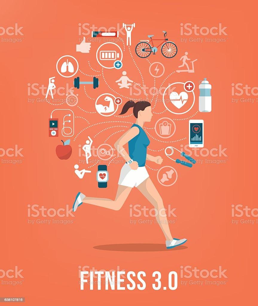 Sportswoman vector art illustration