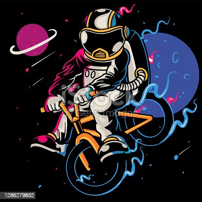 Sporty astronaut rides on bicycle at the moon. Spaceman astronaut with healthy lifestyle. Cartoon art for print design t-shirt apparel poster children. Hand drawn sketch vector illustration