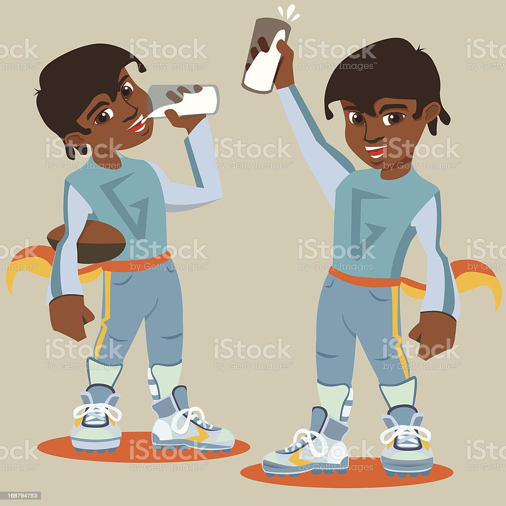 Sporty Boy drinks and Cheers royalty-free stock vector art