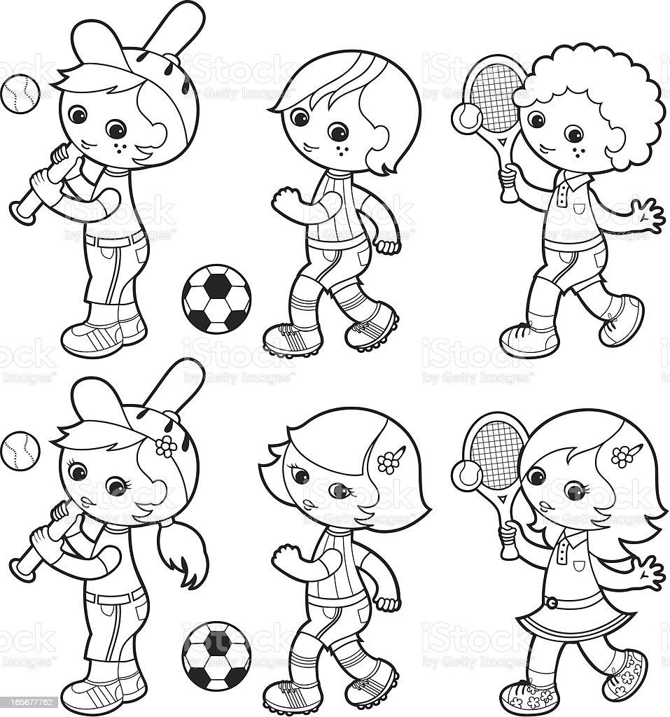 Sporty boys coloring set vector art illustration