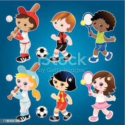 Sporty cute kids set