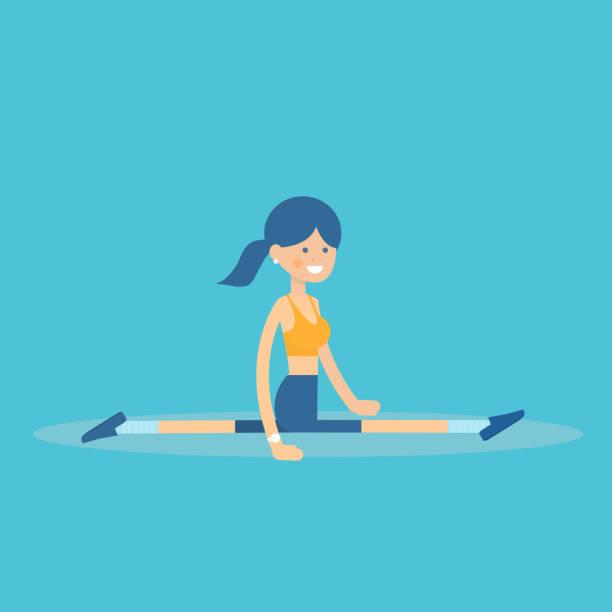 sportlichen weiblichen charakter dehnübung ausführen - spagat stock-grafiken, -clipart, -cartoons und -symbole