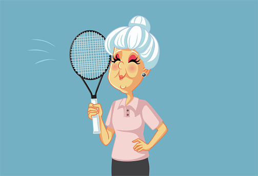Sporty Grandma Playing Tennis Holding Racket