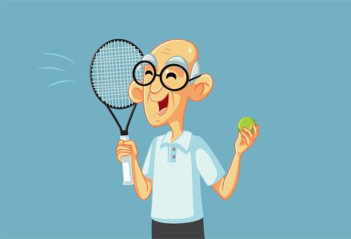 Sporty Grandpa Playing Tennis Holding Racket