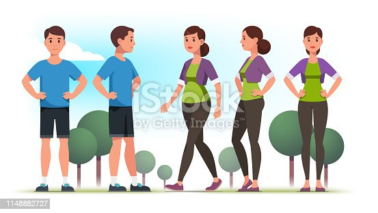 Sporty looking persons man and woman wearing casual sportswear clothes holding hands on hips and lady walking outdoors. Front and side view poses. Flat vector character illustration