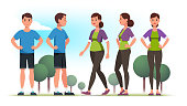 Sporty looking persons man and woman wearing casual sportswear clothes holding hands on hips and lady walking outdoors. Front and side view poses. Flat style vector isolated illustration