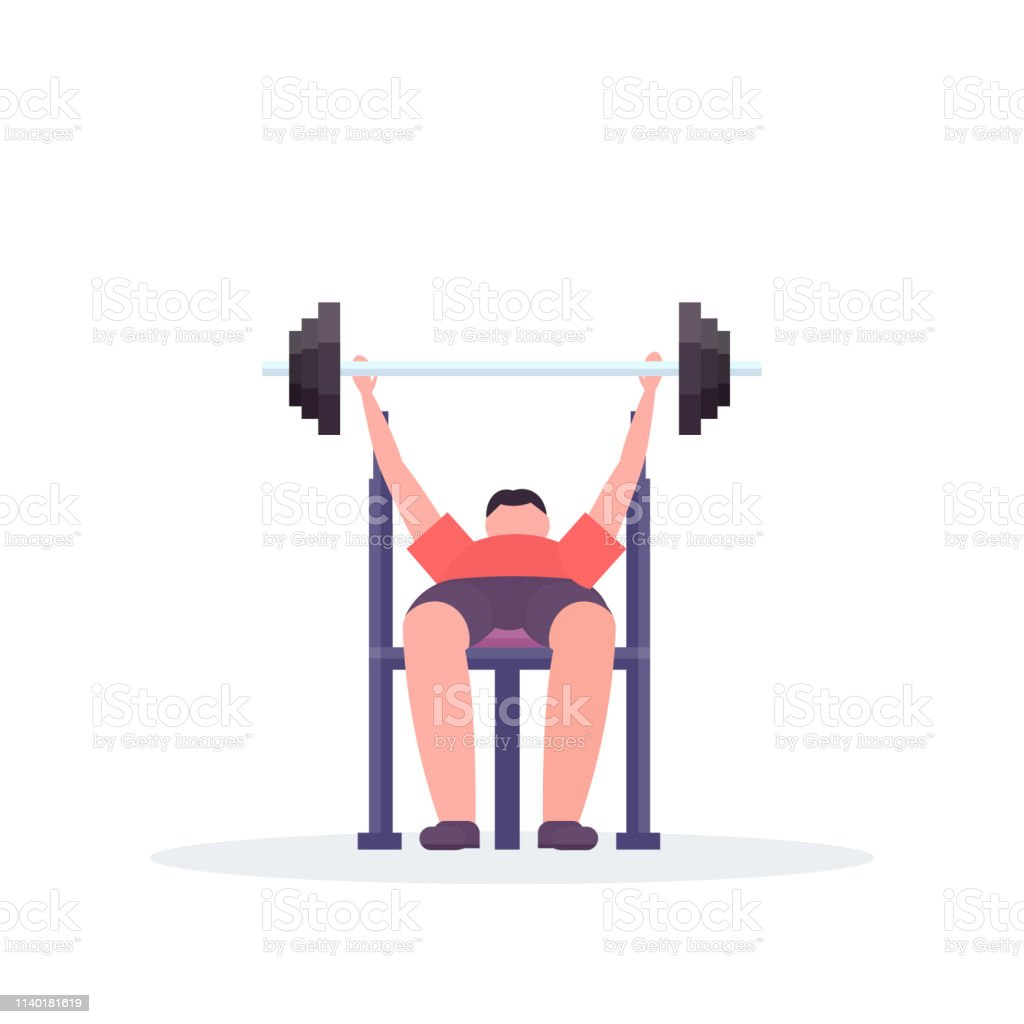 Fantastic Sporty Man Lying On Bench Lifting Barbell With Weights Pdpeps Interior Chair Design Pdpepsorg