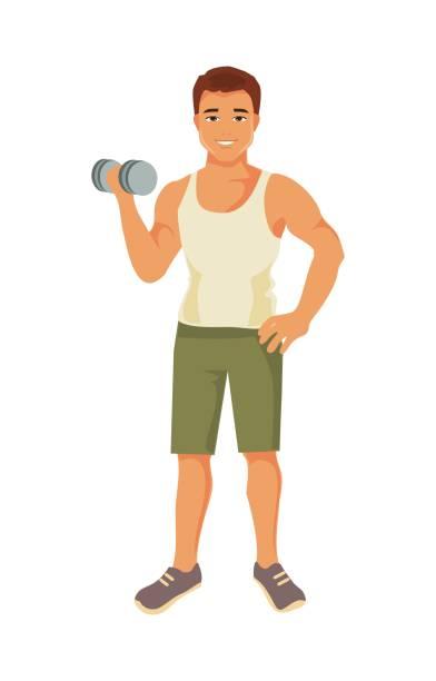 illustrazioni stock, clip art, cartoni animati e icone di tendenza di sporty man. vector illustration - bello