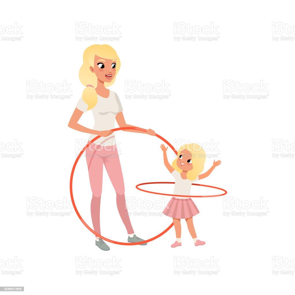 Mère De Sportive Et Sa Fille Cute Avec Cerceau Dessin Animé
