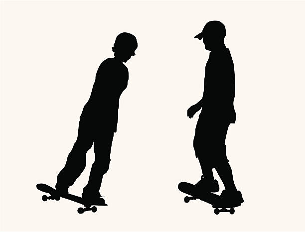 Sporty Skateboard Boys ( Vector ) Young kids hanging out. Silhouette. svg stock illustrations