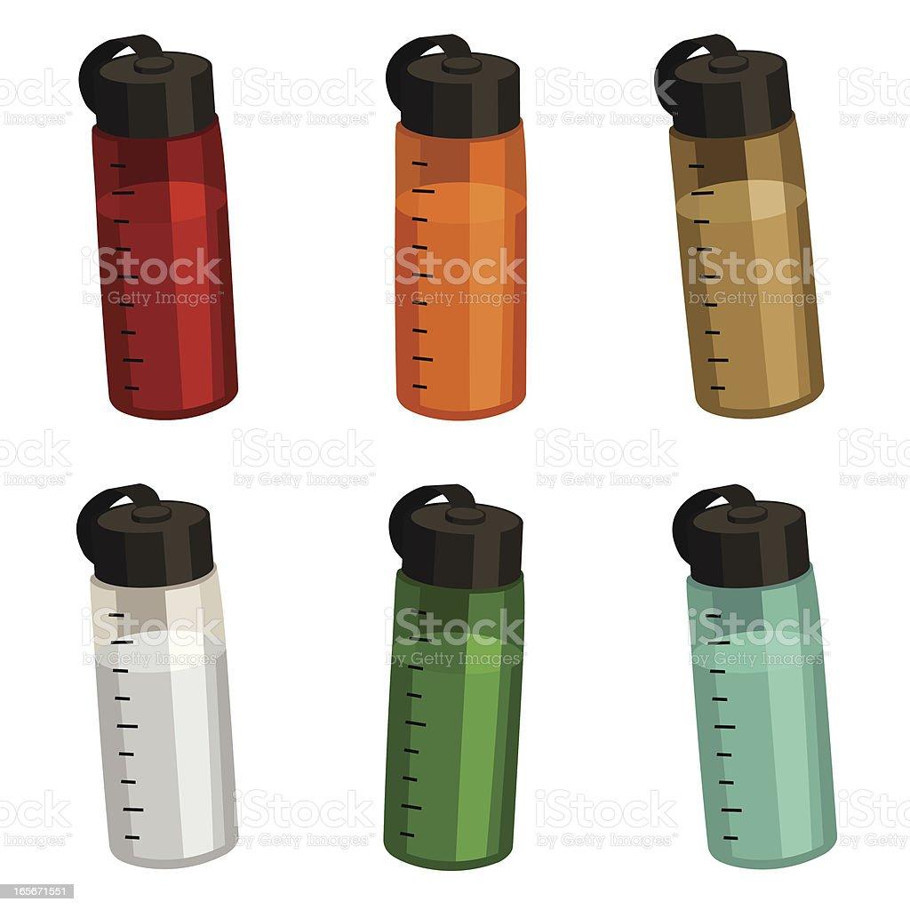Sporty Water Bottles vector art illustration