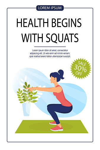 Sporty woman does squats
