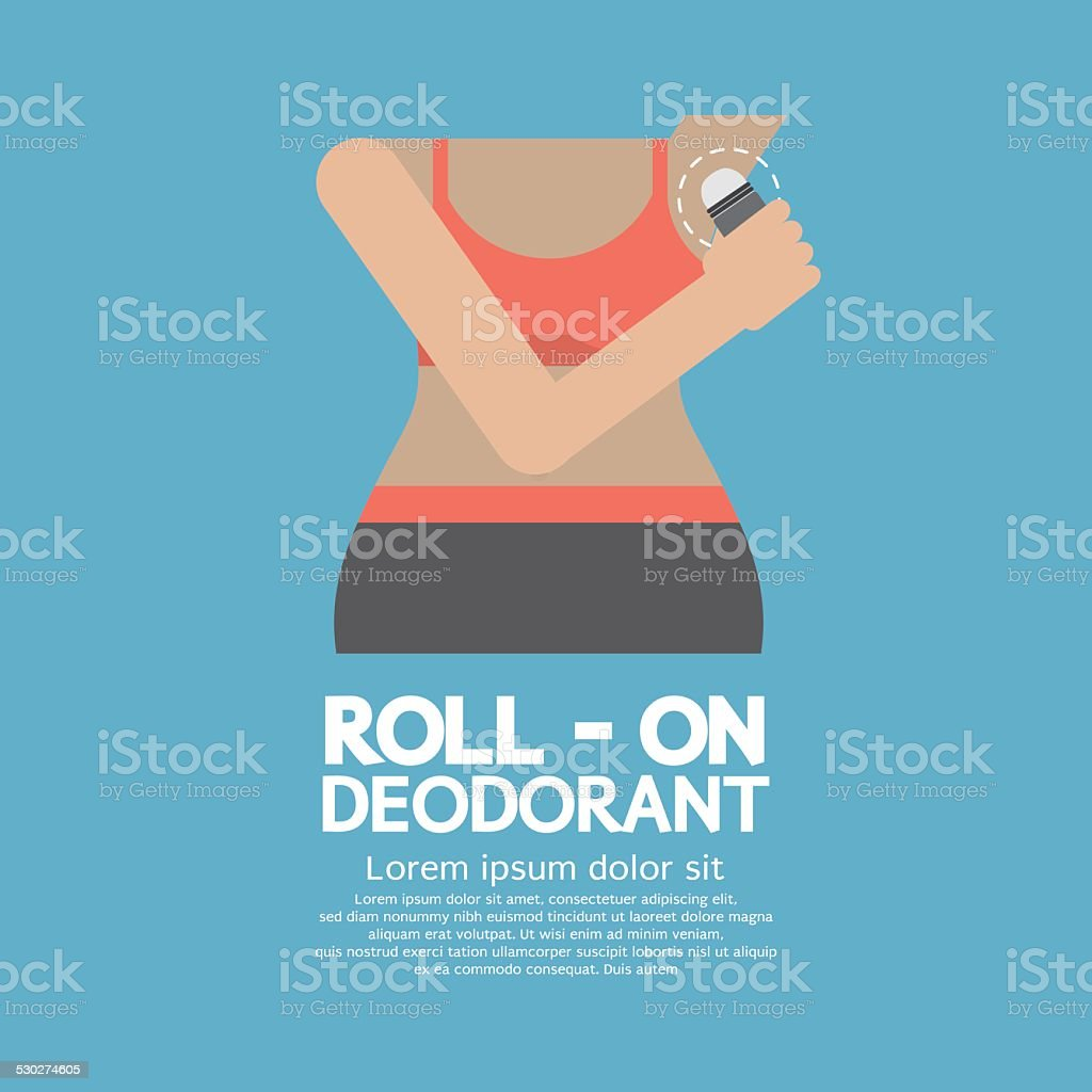 Sporty Woman Using Roll-on Deodorant向量藝術插圖
