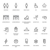 Spot icons of Ice Arena. Navigation room sign. Vector plain simple line design icons and pictograms set.