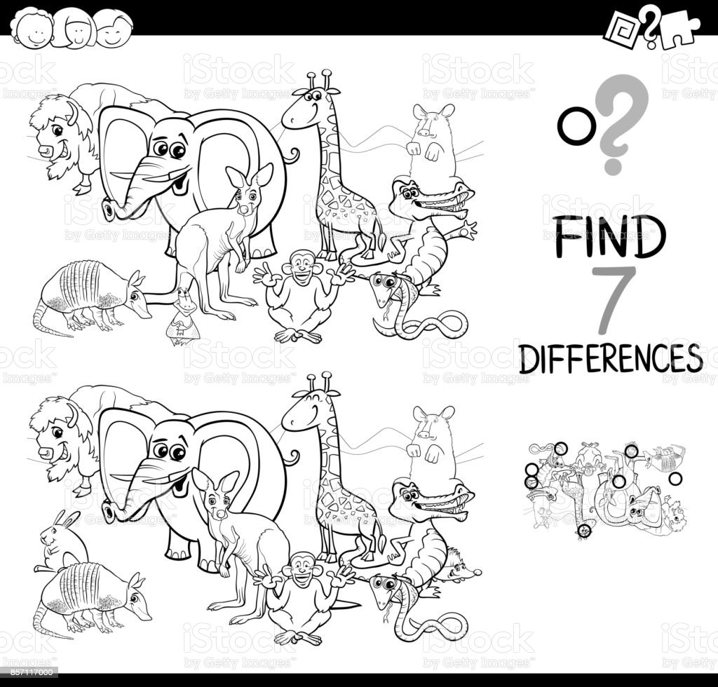 Spot The Difference With Animals Coloring Book Royalty Free Stock Vector Art