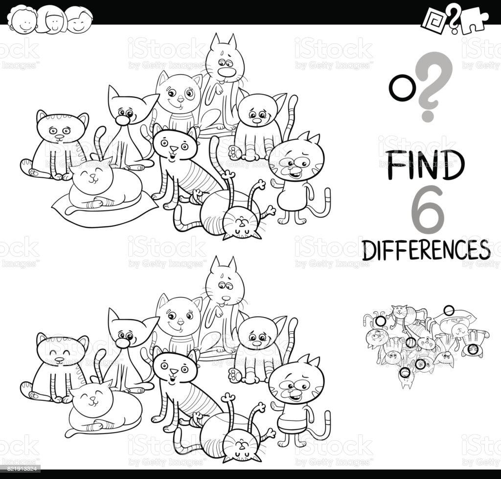 Busca Las Diferencias Con Los Gatos Para Colorear Libro - Arte ...