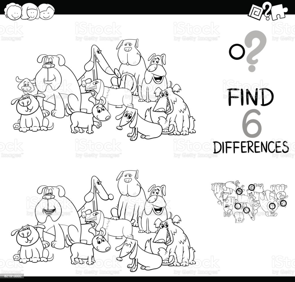 Spot The Difference With Dogs Coloring Book Stock Vector Art & More ...