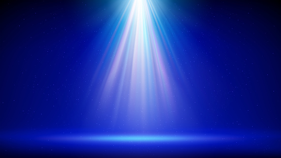 Spotlight background. Illuminated blue stage. Divine radiance, god. Backdrop for displaying products. Bright beams of spotlights, shimmering glittering particles, a spot of light. Vector illustration