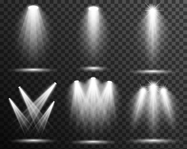 Spotlight illuminated scene set collection vector transparent Stage, podium light effect spotlight stock illustrations