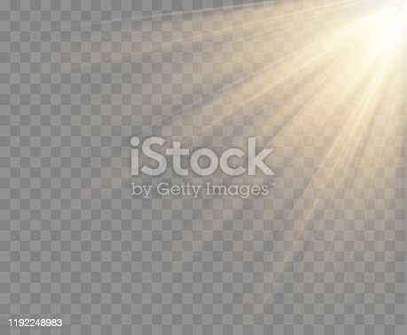 Spotlight isolated on transparent background. Vector sunlight with gold rays and beams. Vector warm light effect