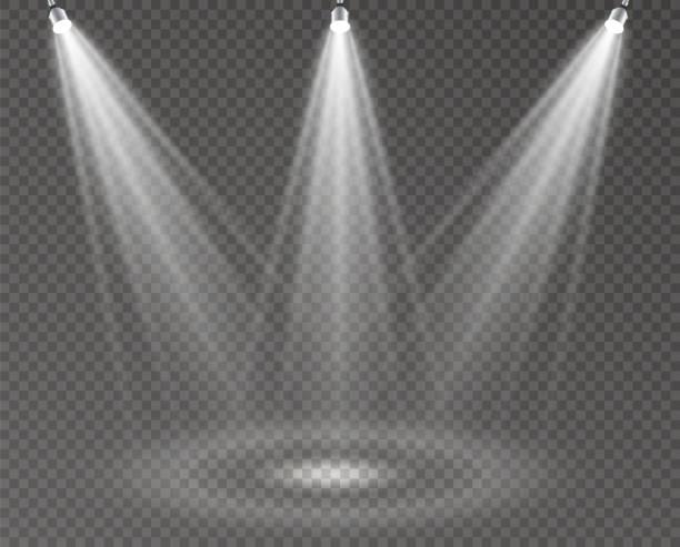 stockillustraties, clipart, cartoons en iconen met spotlight-lichte scène - spotlicht belichting