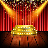 Illustration of Spotlight of shining on stage background. Vector