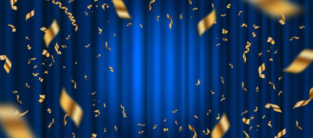 Spotlight on blue curtain background and falling golden confetti. Vector illustration. Spotlight on blue curtain background and falling golden confetti. Vector illustration. celebration event stock illustrations