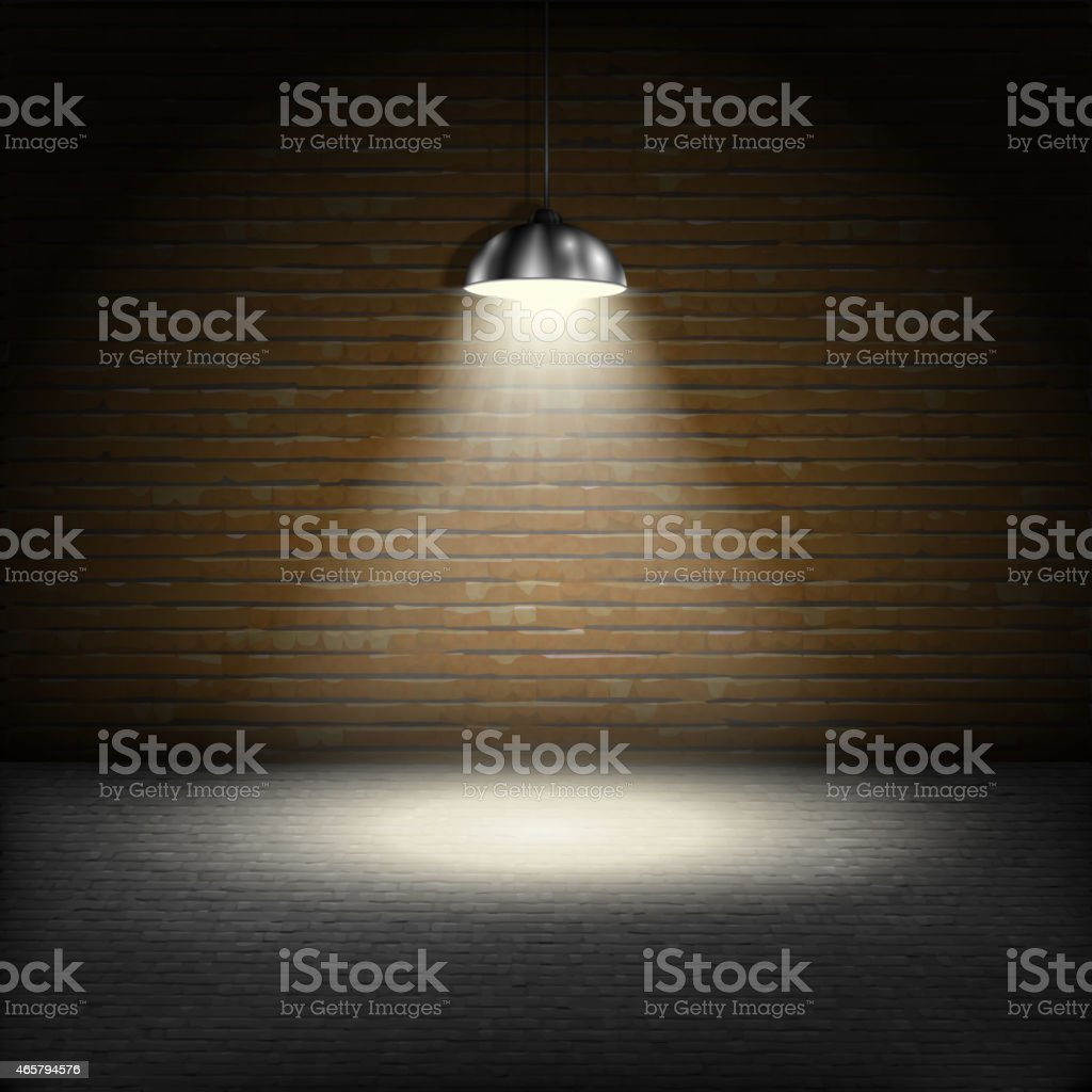 Spotlight On Brick Wall Background. vector art illustration