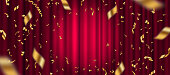 Spotlight on red curtain background and falling golden confetti. Vector illustration.