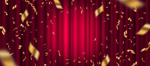 ilustraciones, imágenes clip art, dibujos animados e iconos de stock de foco en el fondo de la cortina roja y la caída de confeti dorado. ilustración vectorial. - celebration background