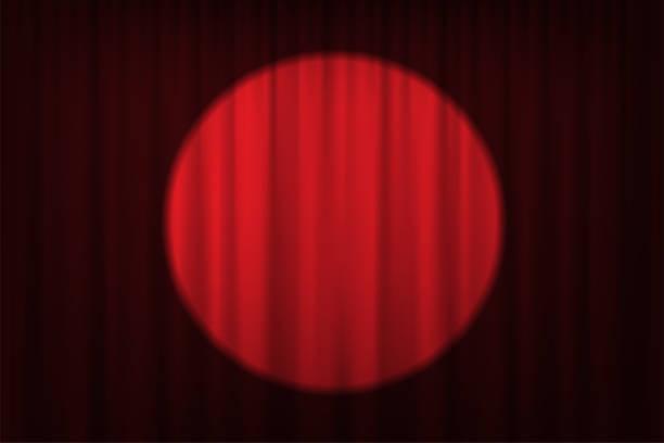 spotlight auf rote vorhänge und stühle. vektor-theater, kino oder zirkus-hintergrund. - plüschmuster stock-grafiken, -clipart, -cartoons und -symbole