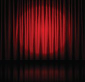 Red spotlight on stage theatre curtain with reflection on floor. Vector illustration