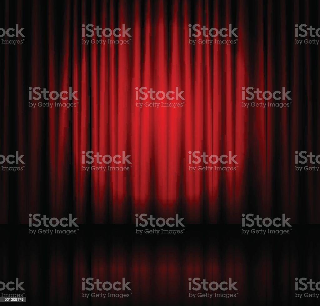 Spotlight on stage curtain vector art illustration