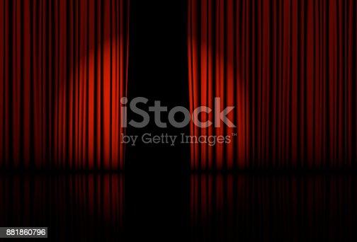 istock Spotlight on stage curtain Vector illustration EPS 881860796