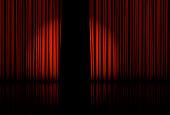 Spotlight on stage curtain Vector illustration EPS