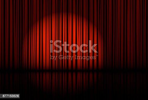 istock Spotlight on stage curtain. Vector. 877153526